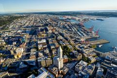 Sunset View from Sky View Observatory over Seattle with Space Ne Royalty Free Stock Image