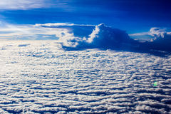 White clouds in the sky. Photo taken from the sky on a cloud. Northern Thailand Stock Images
