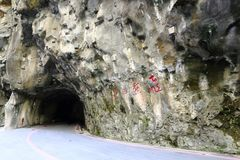 Swallow Grotto inside the Taroko Gorge National Park at Hualien Taiwan. Photo taken at the start point of Swallow Grotto inside the Taroko Gorge National Park at Stock Photos
