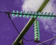 Insulators of electric pylons. Photo taken in the summer of 2016, Drummondville, Quebec, Canada. These objects that we see every day can become abstract with Stock Image