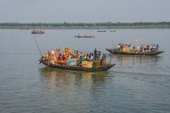 A Durga Puja immersion celebration across the India-Bangladesh border on the last day of puja.