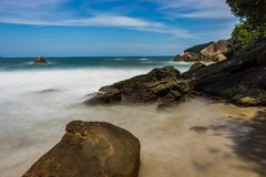 Long Exposure Beach Pedra da Praia do Meio Trindade, Paraty Rio. Photo taken in Trindade, Brazil August 2017: Long Exposure Pedra da Praia do Meio. Praia do royalty free stock photos