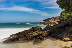 Long Exposure Beach Pedra da Praia do Meio Trindade, Paraty Rio. Photo taken in Trindade, Brazil August 2017: Long Exposure Pedra da Praia do Meio. Praia do royalty free stock photography