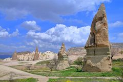 Beautiful spring landscape of mountain Cappadocia. Photo taken in Turkey. The picture shows the beautiful landscape seen on the mountain road Cappadocia royalty free stock photo