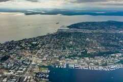 Aerial View of Seattle from Airplane in Washington United States of America. Photo taken in United States of America Royalty Free Stock Photography
