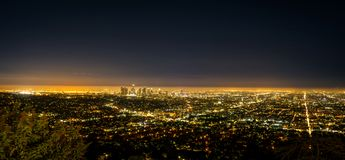Panorama Los Angeles LA City Night view from Griffith Observator royalty free stock images