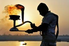 Morning  ganga aarti at varanasi uttar pradesh india