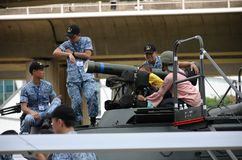 Visitors to the Singapore RSAF open house Royalty Free Stock Images