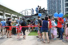 Visitors to the Singapore RSAF open house stock photo