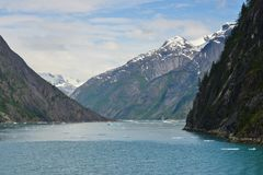 Beautiful view down a fjord in Alaska. royalty free stock images