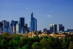 Parisian skyline in colors stock photography