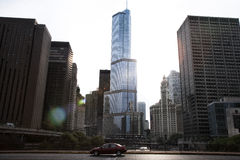 Photo of tall buildings from South Loop in Chicago Stock Images