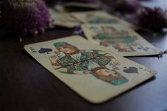Photo of tarot card. Photo cards for fortune telling or playing. Old cards on a wooden background with flowers Stock Images