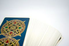 Photo of tarot card. Photo cards for fortune telling or playing. Tarot cards on a whit background Stock Image