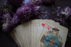 Photo of tarot card. Photo cards for fortune telling or playing. Old cards on a wooden background with flowers Royalty Free Stock Photography