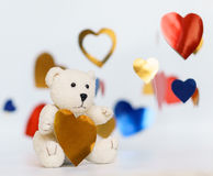 A photo of Teddy bear heart sharp with white background. Stock Photography