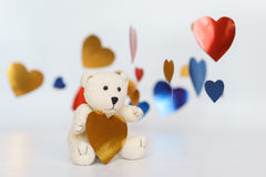 A photo of Teddy bear heart sharp with white background. Stock Images