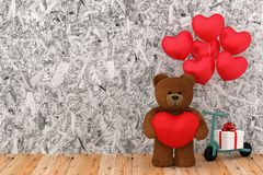 Teddy bear holding balloon heart sharp. A photo of Teddy bear holding balloon heart sharp, 3D Rendering with blender freeware Royalty Free Stock Images