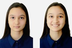 Photo of a teenage girl face on a white background on documents. Collage for comparison royalty free stock photography