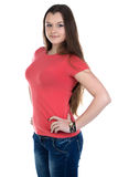 Photo of teenage girl with hands on hip. On white background stock photos