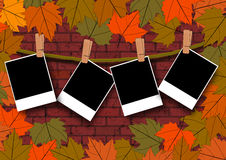 Photo template on autumn season brick wall Royalty Free Stock Photos