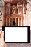 Photo of temple in ancient town Petra, Jordan Stock Photo