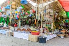 Photo of temporary shops at `Shwe Set Taw` pagoda festival, Myanmar, Feb-2018