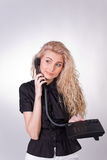 Photo of thinking businesswoman with phone Royalty Free Stock Images