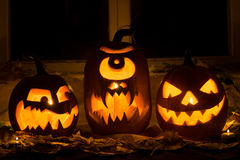 Photo of three pumpkins for Halloween. Royalty Free Stock Images
