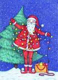 Photo tirée par la main de Santa Claus décorant l'arbre de Noël et embrouillée dans une guirlande pendant la nuit neigeuse illustration libre de droits