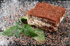 Photo of tiramisu cake and mint leaf on the black wooden background. royalty free stock photography
