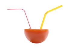 Photo of tomato with a straws Stock Photo