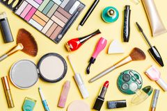 Photo on top of different cosmetics Stock Photography