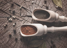 Photo on top of spices to food on a wooden table with space for your text Stock Photo