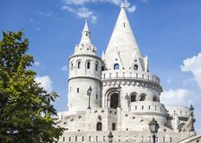 Tower of Fisherman`s Bastion Close up. Budapest, Hungary stock image