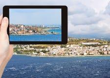 Photo of town Reggio di Calabria from sea Royalty Free Stock Photos