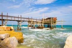 Photo of trabucco on the sea Stock Image