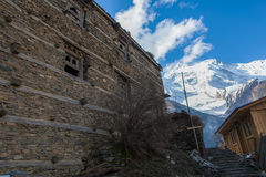 Photo Tracking Himallaya Vilage.View Nepal Mountans Background. Hikking Sport Travel. Horizontal. Stock Photography