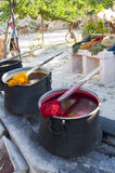 Photo of Traditional dye pots for yarn Stock Images