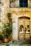 Photo of traditional house exterior. Vintage photo of traditional house facade in mediterranean village in Mallorca Spain Stock Image