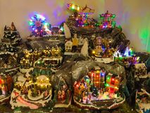 Traditional Miniature of christmas village in the shop stock photos