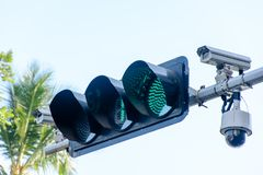 Photo of traffic light and cctv camera.  Royalty Free Stock Photography