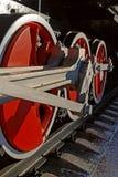Photo of train wheels. Photo of steam train wheels stock image