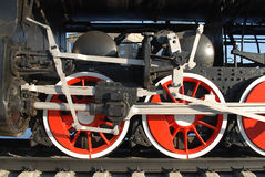 Photo of train wheels. Photo of steam train wheels stock images