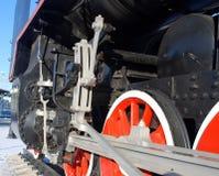 Photo of train wheels. Photo of steam train wheels royalty free stock image