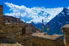 Photo Trakking Himallaya Vilage Path.View Snow Nepal Mountans Background. Hikking Sport Travel. Horizontal. Royalty Free Stock Photo