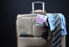 Travel suitcase photo on black background. royalty free stock images