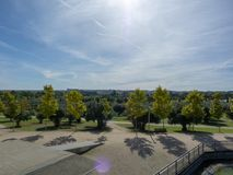 Photo of trees in a park. During the day stock photo