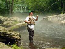Trout Fisherman Checking his Line for Wind Knots