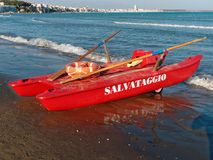 Twin Hulled Rowboat Sea Rescue Offshore. Photo of a twin-hulled rowboat at the sea offshore Stock Photos